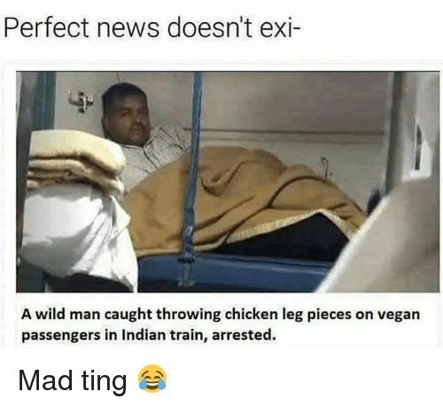 News, Vegan, and Chicken: Perfect news doesn't exi  A wild man caught throwing chicken leg pieces on vegan  passengers in Indian train, arrested. Mad ting 😂
