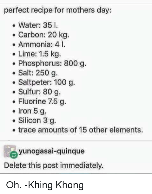 Memes, Mother's Day, and Recipes: perfect recipe for mothers day:  Water: 35 l.  Carbon: 20 kg  Ammonia: 4 l.  Lime: 1.5 kg.  Phosphorus: 800 g.  Salt: 250 g.  Saltpeter: 100 g.  Sulfur: 80 g.  Fluorine 7.5 g  Iron 5 g.  Silicon 3 g.  trace amounts of 15 other elements.  yunogasai quinque  Delete this post immediately. Oh. -Khing Khong