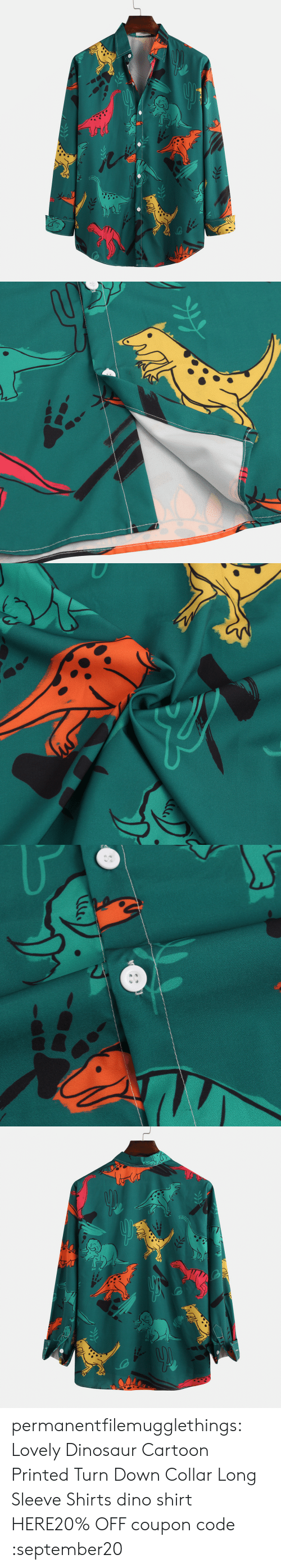 Printed: permanentfilemugglethings:  Lovely Dinosaur Cartoon Printed Turn Down Collar Long Sleeve Shirts dino shirt HERE20% OFF coupon code :september20