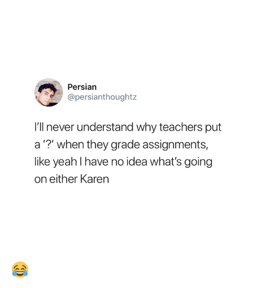 """Persian: Persian  @persianthoughtz  I'll never understand why teachers put  a""""?"""" when they grade assignments,  like yeahl have no idea what's going  on either Karen 😂"""