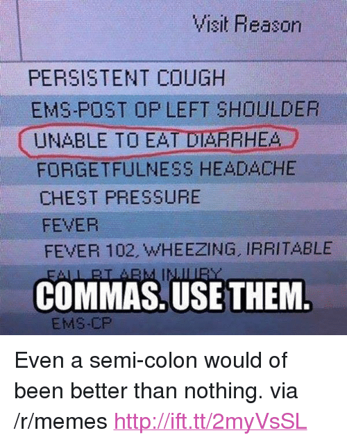"Forgetfulness: PERSISTENT COUGH  EMS-POST OP LEFT SHOULDER  UNABLE TO EAT DIARRHEA  FORGETFULNESS HEADACHE  CHEST PRESSURE  FEVER  FEVER 102, WHEEZING, IRRITABLE  COMMAS.USE THEM  EMS-CP <p>Even a semi-colon would of been better than nothing. via /r/memes <a href=""http://ift.tt/2myVsSL"">http://ift.tt/2myVsSL</a></p>"