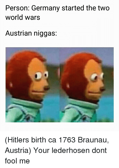 Germany, Hitler, and World: Person: Germany started the two  world wars  Austrian niggas: (Hitlers birth ca 1763 Braunau, Austria) Your lederhosen dont fool me