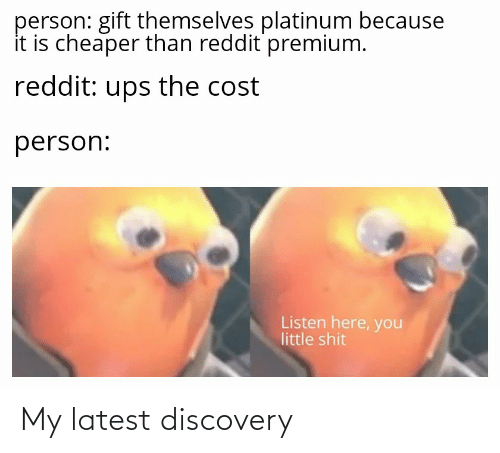 Reddit, Shit, and Ups: person: gift themselves platinum because  it is cheaper than reddit premium.  reddit: ups the cost  person:  Listen here, you  little shit My latest discovery