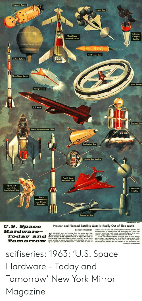 exploration: Personnol Rocket  Relief Ship  Throe-Stago  Porsonnel Rockot  Instrument  Carrying  Satellite  Third Stage Unit  Colony Sphero  Threo-Stage Rocket  Spaco Station  Flying Saucer  U.S. X-15  Research Ship  Space Reconnaissance Ship  Exploration Ship  Weather Eyo Satellito  Fourth Stage  Passenger Uni  Space Suit  and Anti  Obsorvatory  Satelit  Space  Reconnaissanco  and 3-Stage  Propellant  Exploration Ship  Present and Planned Satellite Gear Is Really Out of This World  U.S. Space  FHardware-  By FRED DICKENSON  swiFTLY are we hurting into the space age that  farout designs blend together for us In trying to keep up  artist's view of some US. orblting hardware both present and  contemplated. It ranges from the bullet-llke Alr Force X-15  (center) which has made many successful fights, to space  accomplished fact, drawing board projeets and even station (upper right) still on the draftsman's board.  Many Instrument-carrylng satellites such as that shown  with sclence. One down to earth aspeet, however, is that man at the upper right already are in orblt, of course. And whlle  made articles In space, no matter how fantastle, are known he ant gravitational unlt lower let) and space recon  by the prosale name of hardware. Here may be seen an nalssance ship above It are not yet part of our equipment, few scifiseries:  1963: 'U.S. Space Hardware - Today and Tomorrow' New York Mirror Magazine