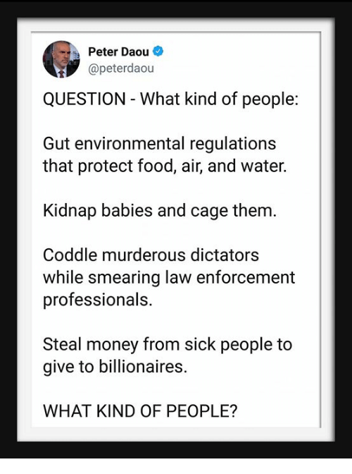 steal money: Peter Daou  @peterdaou  QUESTION - What kind of people:  Gut environmental regulations  that protect food, air, and water.  Kidnap babies and cage them.  Coddle murderous dictators  while smearing law enforcement  professionals.  Steal money from sick people to  give to billionaires.  WHAT KIND OF PEOPLE?