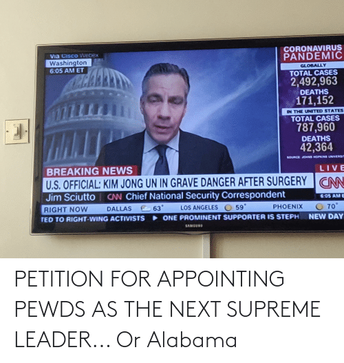 Supreme: PETITION FOR APPOINTING PEWDS AS THE NEXT SUPREME LEADER... Or Alabama