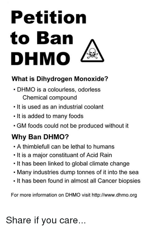 dihydrogen monoxide the secret killer