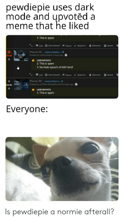 Spam Meme: pewdiepie uses dark  mode and upvotēd a  meme that he liked  1: This is spam  Give Award  Approve  Share  Remove  Spam  224  Meme 50 L.redd.it/h84dex... G  Posted by u/dhertzbach 2 days ago  34.8k  USER REPORTS  2: This is spam  1: No Hate speech of ANY kind!  Give Award  Remove  217  Share  Approve  Spam  Meme 50 i.redd.it/9hztro...  Posted by u/The3rdboiledZucchini 2 days ago S  My  ddit  34.6k  USER REPORTS  1: This is spam  Everyone: Is pewdiepie a normie afterall?