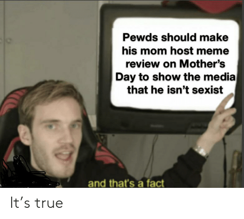 Meme, Mother's Day, and True: Pewds should make  his mom host meme  review on Mother's  Day to show the media  that he isn't sexist  and that's a fact It's true