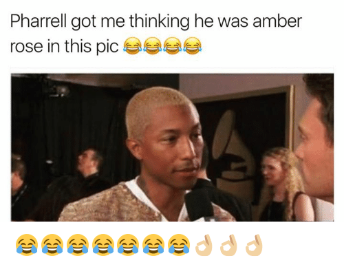 Amber Rose, Funny, and Pharrell: Pharrell got me thinking he was amber  rose in this pic 😂😂😂😂😂😂😂👌🏼👌🏼👌🏼