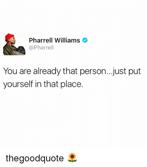 Memes, Pharrell, and Pharrell Williams: Pharrell Williams  @Pharrell  You are already that person...just put  yourself in that place. thegoodquote 🌻