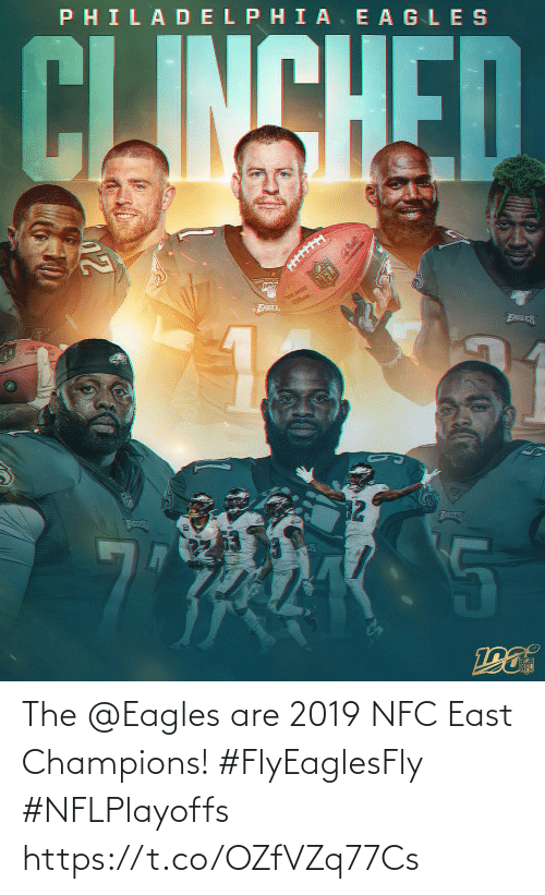 east: PHILADELPHIA. E AGLES  CLINSHED  THE QURE  FABLE  EABLES  32  ATLES  AILES The @Eagles are 2019 NFC East Champions! #FlyEaglesFly #NFLPlayoffs https://t.co/OZfVZq77Cs