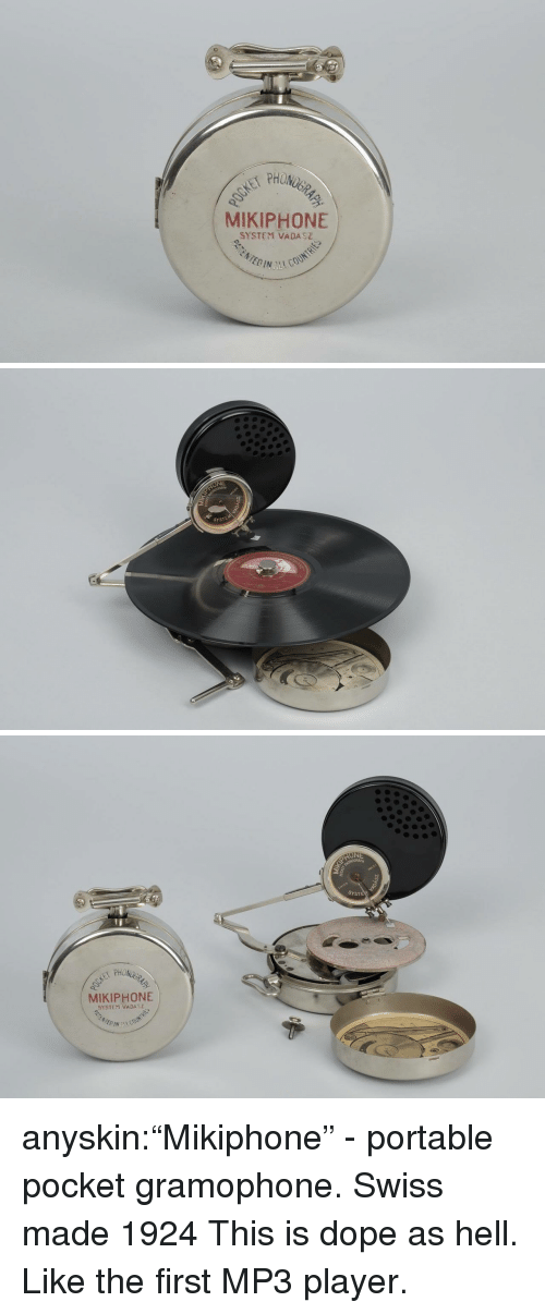 """portable: PHON  MIKIPHONE  SYSTEM VADASZ   NE  SYSTEM   SYSTE  MIKIPHONE  SYSTEM VADA anyskin:""""Mikiphone"""" - portable pocket gramophone. Swiss made 1924  This is dope as hell. Like the first MP3 player."""