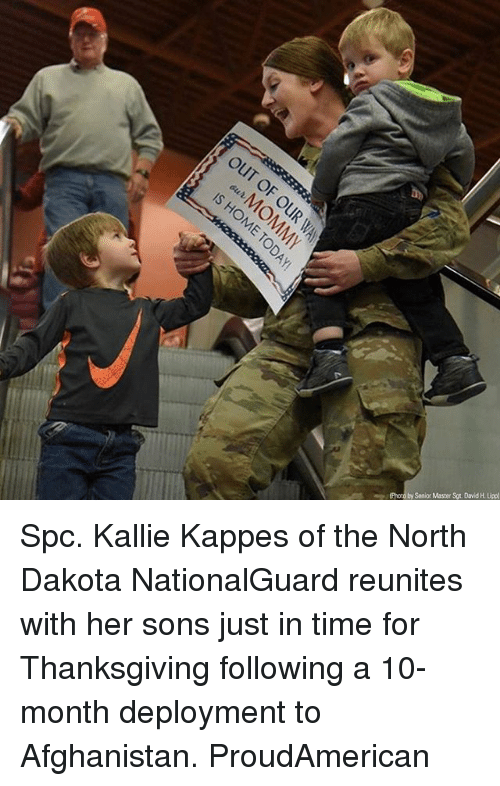 Memes, Thanksgiving, and Afghanistan: (Photo by Senior Master Sgt. David H. Uipp) Spc. Kallie Kappes of the North Dakota NationalGuard reunites with her sons just in time for Thanksgiving following a 10-month deployment to Afghanistan. ProudAmerican