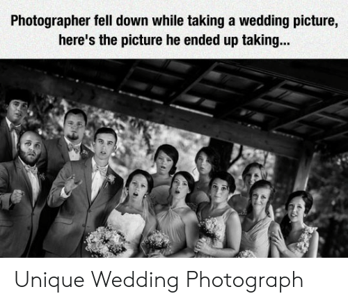 Wedding, Down, and Picture: Photographer fell down while taking a wedding picture,  here's the picture he ended up taking... Unique Wedding Photograph