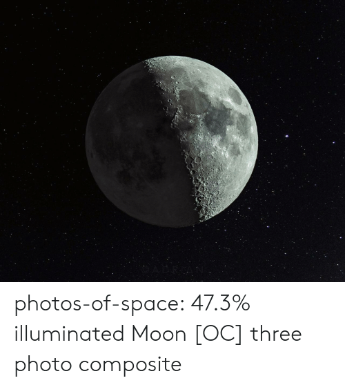 Tumblr, Blog, and Moon: photos-of-space:  47.3% illuminated Moon [OC] three photo composite