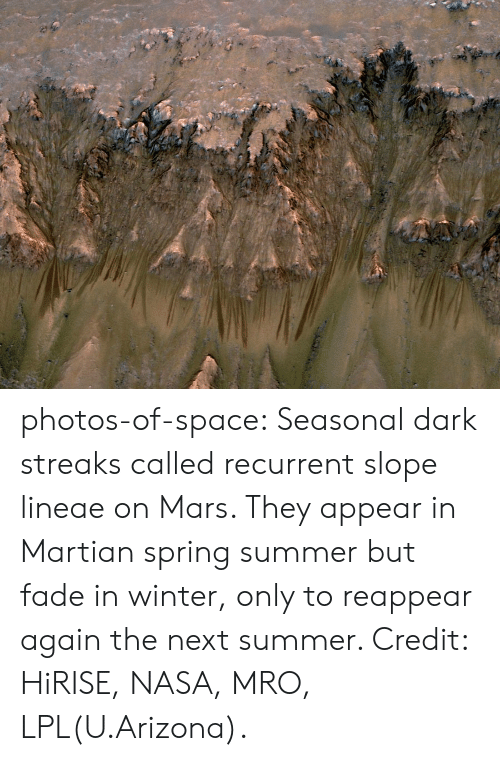 Nasa, Tumblr, and Winter: photos-of-space:  Seasonal dark streaks called recurrent slope lineae on Mars. They appear in Martian spring  summer but fade in winter, only to reappear again the next summer. Credit: HiRISE, NASA, MRO, LPL(U.Arizona).
