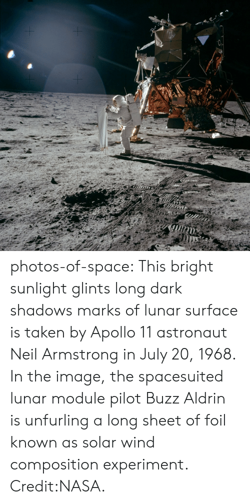 module: photos-of-space:  This bright sunlight glints  long dark shadows marks of lunar surface is taken by Apollo 11 astronaut Neil Armstrong in July 20, 1968. In the image, the spacesuited lunar module pilot Buzz Aldrin is unfurling a long sheet of foil known as solar wind composition experiment. Credit:NASA.