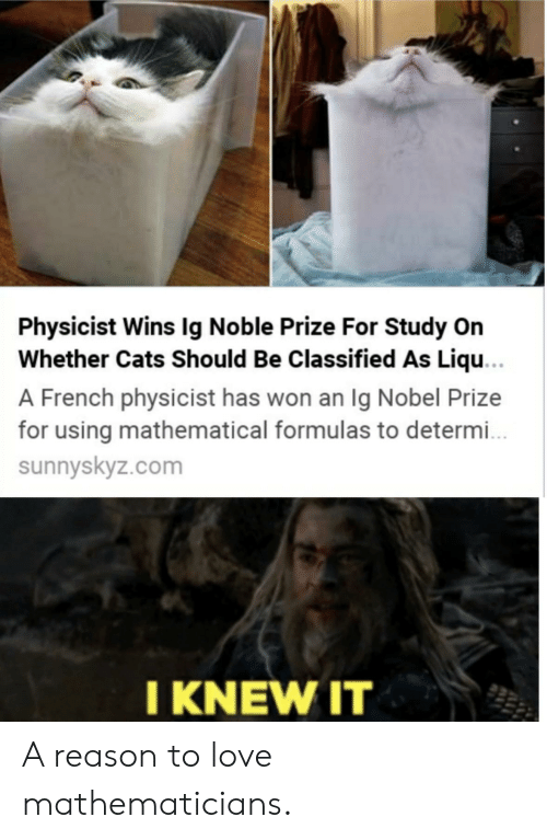 Knew It: Physicist Wins Ig Noble Prize For Study On  Whether Cats Should Be Classified As Liqu...  A French physicist has won an Ig Nobel Prize  for using mathematical formulas to determ..  sunnyskyz.com  I KNEW IT A reason to love mathematicians.