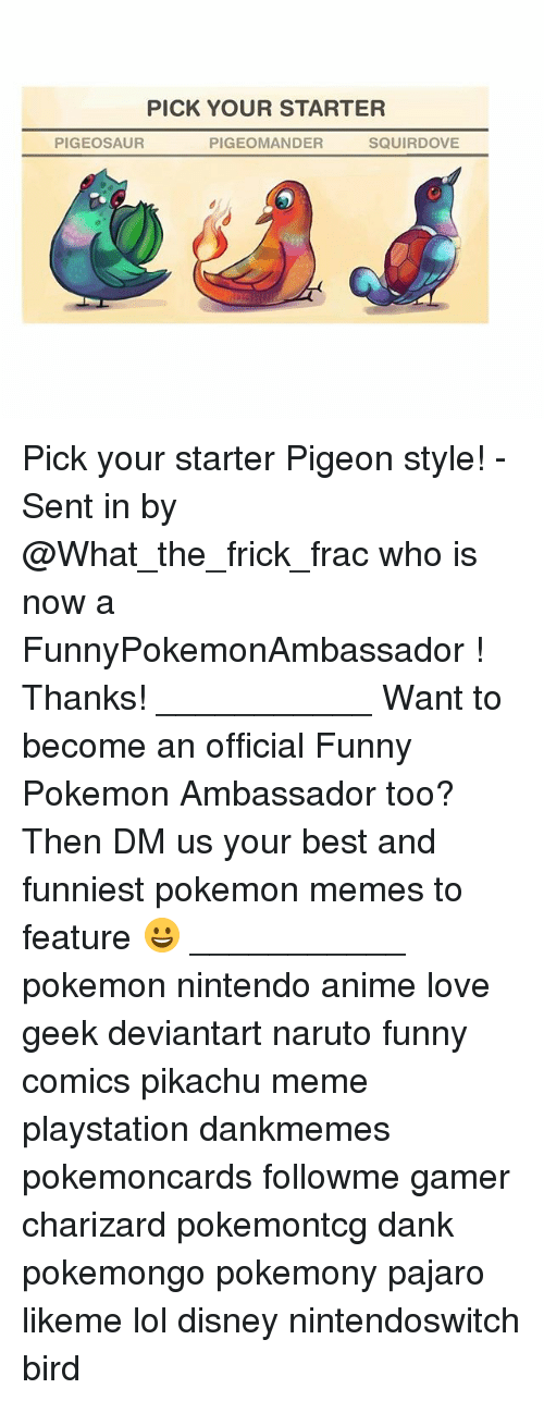 Frickly: PICK YOUR STARTER  PIGEOSAUR  PIGEOMANDER  SQUIRDOVE Pick your starter Pigeon style! - Sent in by @What_the_frick_frac who is now a FunnyPokemonAmbassador ! Thanks! ___________ Want to become an official Funny Pokemon Ambassador too? Then DM us your best and funniest pokemon memes to feature 😀 ___________ pokemon nintendo anime love geek deviantart naruto funny comics pikachu meme playstation dankmemes pokemoncards followme gamer charizard pokemontcg dank pokemongo pokemony pajaro likeme lol disney nintendoswitch bird
