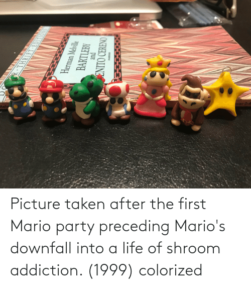 Life: Picture taken after the first Mario party preceding Mario's downfall into a life of shroom addiction. (1999) colorized