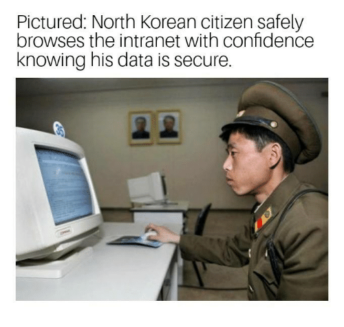 Confidence, Dank, and Korean: Pictured: North Korean citizen safely  browses the intranet with confidence  knowing his data is secure.