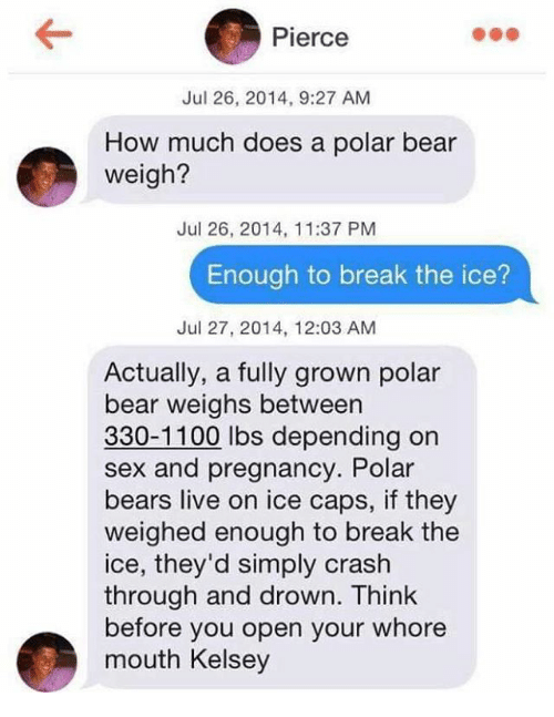 icee: Pierce  Jul 26, 2014, 9:27 AM  How much does a polar bear  weigh?  Jul 26, 2014, 11:37 PM  Enough to break the ice?  Jul 27, 2014, 12:03 AM  Actually, a fully grown polar  bear weighs between  330-1100 lbs depending on  sex and pregnancy. Polar  bears live on ice caps, if they  weighed enough to break the  ice, they'd simply crash  through and drown. Think  before you open your whore  mouth Kelsey