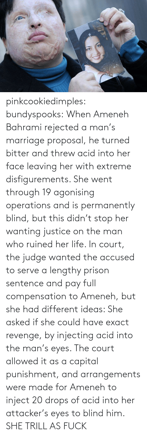 Arrangements: pinkcookiedimples:  bundyspooks:  When Ameneh Bahrami rejected a man's marriage proposal, he turned bitter and threw acid into her face leaving her with extreme disfigurements. She went through 19 agonising operations and is permanently blind, but this didn't stop her wanting justice on the man who ruined her life. In court, the judge wanted the accused to serve a lengthy prison sentence and pay full compensation to Ameneh, but she had different ideas: She asked if she could have exact revenge, by injecting acid into the man's eyes. The court allowed it as a capital punishment, and arrangements were made for Ameneh to inject 20 drops of acid into her attacker's eyes to blind him.  SHE TRILL AS FUCK
