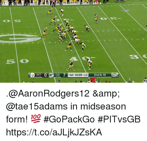 Memes, 🤖, and Pit: PIT 0 GGB 7  1st 13:20 :13 .@AaronRodgers12 & @tae15adams in midseason form! 💯 #GoPackGo  #PITvsGB https://t.co/aJLjkJZsKA
