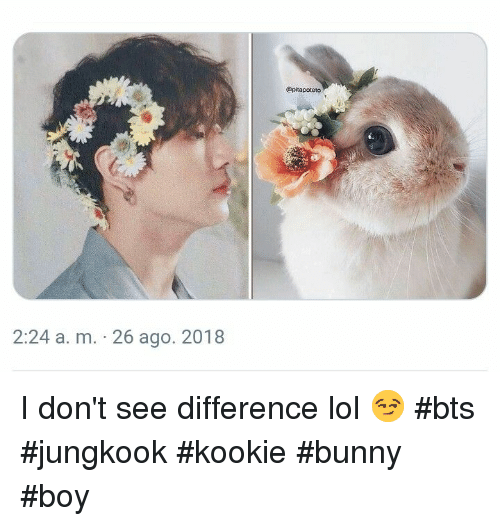 bts jungkook: @pitapoteto  2:24 a. m. 26 ago. 2018 I don't see difference lol 😏 #bts #jungkook #kookie #bunny #boy