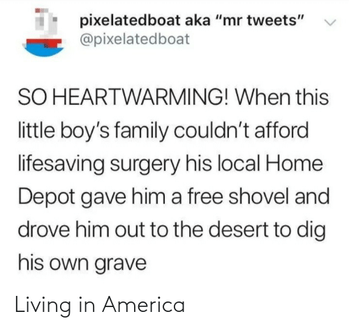 "grave: pixelatedboat aka ""mr tweets""  @pixelatedboat  SO HEARTWARMING! When this  little boy's family couldn't afford  lifesaving surgery his local Home  Depot gave him a free shovel and  drove him out to the desert to dig  his own grave Living in America"