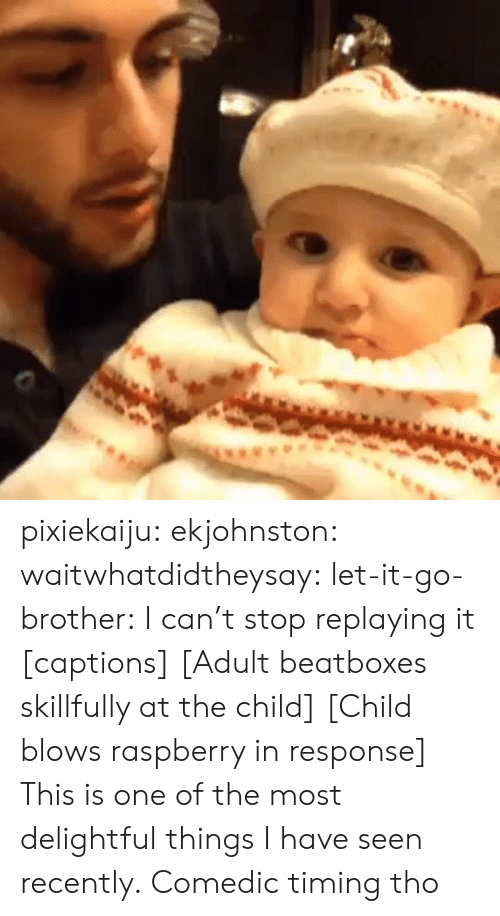 one of the most: pixiekaiju:  ekjohnston:  waitwhatdidtheysay:  let-it-go-brother:  I can't stop replaying it  [captions] [Adult beatboxes skillfully at the child] [Child blows raspberry in response]  This is one of the most delightful things I have seen recently.   Comedic timing tho