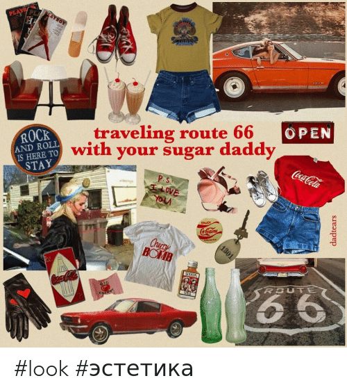 traveling: PL  LAYBOY  PLA  traveling route 66  with your sugar daddy  OPEN  ROCK  AND ROLL  IS HERE TO  STAY  CocaCola  P.S  ALOVE  ww  ENJOY  CoCaine  Chery  BOMB  1301  66  ROUTE  Coca-Cola  CHER  dadtears #look #эстетика