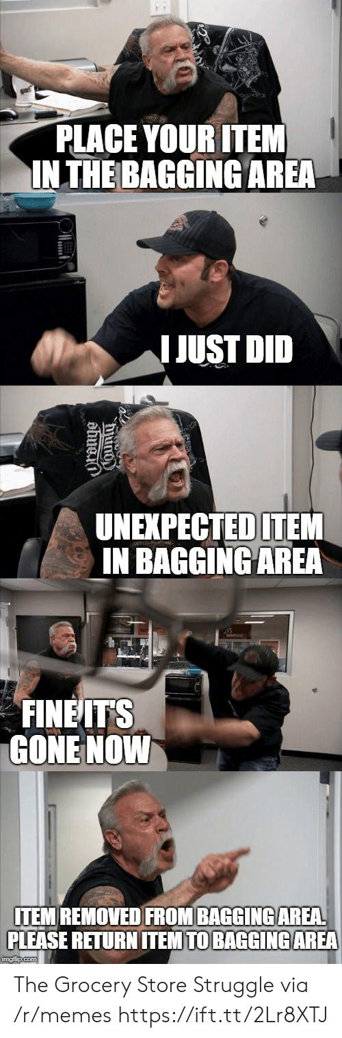 Memes, Struggle, and Gone: PLACE YOUR ITEM  INTHE BAGGING AREA  IJUST DID  UNEXPECTEDITEM  IN BAGGINGAREA  FINEITS  GONE NOWW  ITEM REMOVED FROM BAGGINGAREA  PLEASE RETURN ITEM TO BAGGINGAREA The Grocery Store Struggle via /r/memes https://ift.tt/2Lr8XTJ
