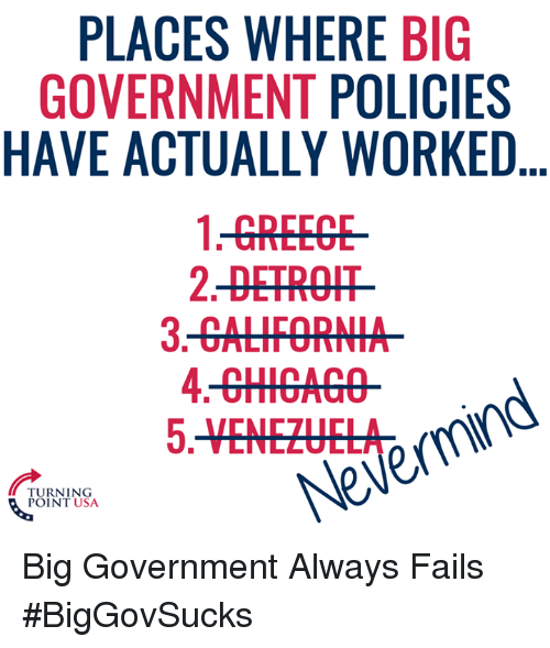 Detroit, Memes, and Government: PLACES WHERE BIG  GOVERNMENT POLICIES  HAVE ACTUALLY WORKED...  1-GREEGE  2-DETROIT  TURNING  POINT USA  Nevermind Big Government Always Fails #BigGovSucks