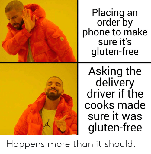 Phone, Reddit, and Free: Placing an  order by  phone to make  Sure it's  gluten-free  Asking the  delivery  driver if the  cooks made  sure it was  gluten-free  AIR Happens more than it should.
