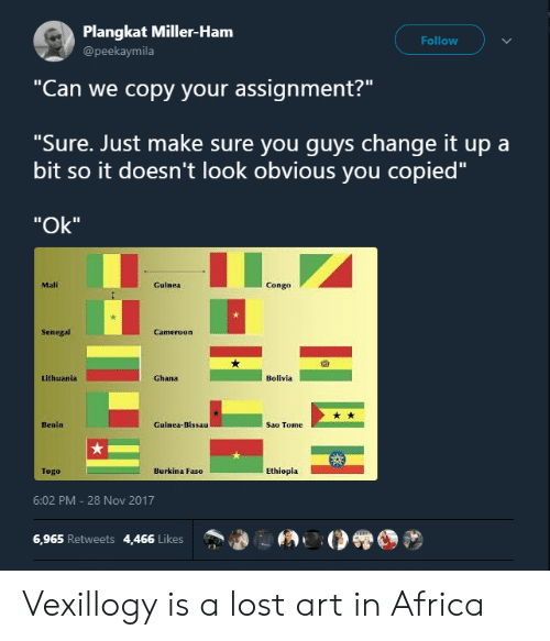 """Lithuania: Plangkat Miller-Ham  @peekaymila  Follow  """"Can we copy your assignment?""""  """"Sure. Just make sure you quvs change it up a  bit so it doesn't look obvious you copied""""  """"Ok""""  Mali  Guinea  Congo  Senegal  囧  Lithuania  Ghana  Bolivla  Benin  Guinea-Bissau  Sao Tome  Togo  Burkina Faso  Ethiopla  6:02 PM-28 Nov 2017  6,965 Retweets 4,466 Likes Vexillogy is a lost art in Africa"""