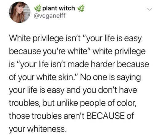 """Life, White, and White Privilege: plant witch  @veganelff  White privilege isn't """"your life is easy  because you're white"""" white privilege  is """"your life isn't made harder because  of your white skin."""" No one is saying  your life is easy and you don't have  troubles, but unlike people of color  those troubles aren't BECAUSE of  your whiteness."""