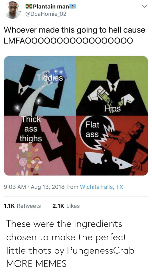 Ass, Dank, and Memes: Plantain man ^  @DcaHomie_02  Whoever made this going to hell cause  LMFAOOOOOOOOOOooooOOO  Tiddies  米  Hips  Thick  ass  thighs  Flat  ass  9:03 AM Aug 13, 2018 from Wichita Falls, TX  1.1K Retweets  2.1K Likes These were the ingredients chosen to make the perfect little thots by PungenessCrab MORE MEMES