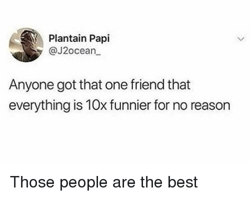 Memes, Best, and Reason: Plantain Papi  y@J2ocean  Anyone got that one friend that  everything is 10x funnier for no reason Those people are the best