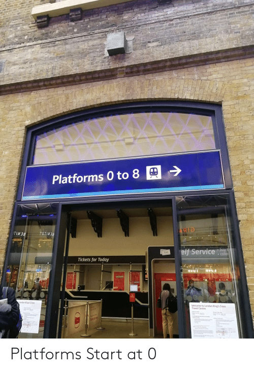 Elf, Cross, and London: Platforms 0 to 8  TIM3  elf Service de  Ticket  . colle  Tickets for Today  Tickets  ets  No  Entry  ondon King's Cross  Welcome to London King's Cros:s  Travel Centre  ket Platforms Start at 0