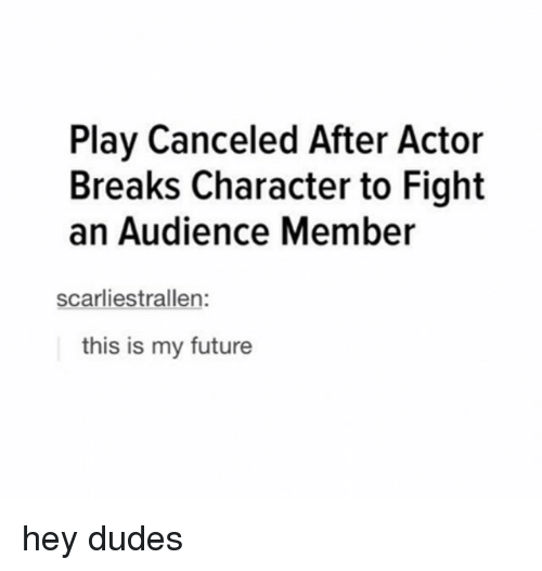 An Audience: Play Canceled After Actor  Breaks Character to Fight  an Audience Member  scarliestrallen:  this is my future hey dudes