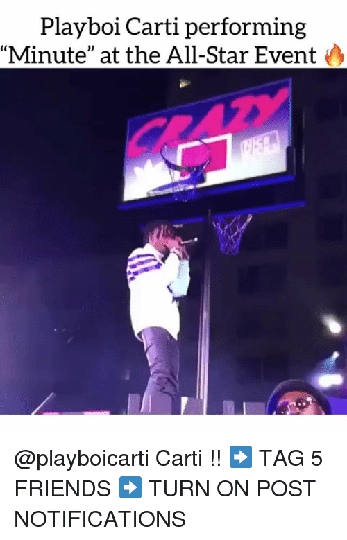 "All Star, Friends, and Memes: Playboi Carti performing  Minute"" at the All-Star Event @playboicarti Carti !! ➡️ TAG 5 FRIENDS ➡️ TURN ON POST NOTIFICATIONS"