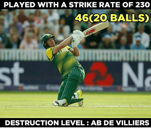 Memes, 🤖, and Abs: PLAYED WITH A STRIKE RATE OF 23  46 20 BALLS)  st  DESTRUCTION LEVEL: AB DE VILLIERS