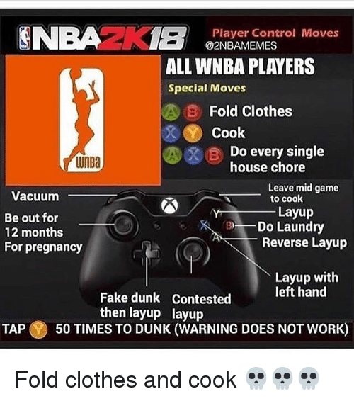 Clothes, Dunk, and Fake: Player Control Moves  @2NBAMEMES  ALL WNBA PLAYERS  Special Moves  B Fold Clothes  Cook  WnBa  Do every single  house chore  Leave mid game  to cook  Vacuum  Be out for  12 months  For pregnancy  Layup  BDo Laundry  Reverse Layup  Layup with  left hand  Fake dunk Contested  then layup layup  TAP 50 TIMES TO DUNK (WARNING DOES NOT WORK) Fold clothes and cook 💀💀💀