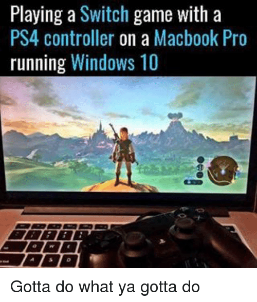 MacBook Pro: Playing a  Switch  game with a  PS4 controller on a Macbook Pro  running Windows 10 Gotta do what ya gotta do
