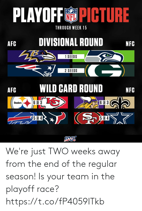 Steelers: PLAYOFF PICTURE  THROUGH WEEK 15  DIVISIONAL ROUND  AFC  NFC  1 SEEDS  G)  2 SEEDS  WILD CARD ROUND  AFC  NFC  6аз  6 a 3  Steelers  5 a 4  15 @ 4 We're just TWO weeks away from the end of the regular season! Is your team in the playoff race? https://t.co/fP4059ITkb