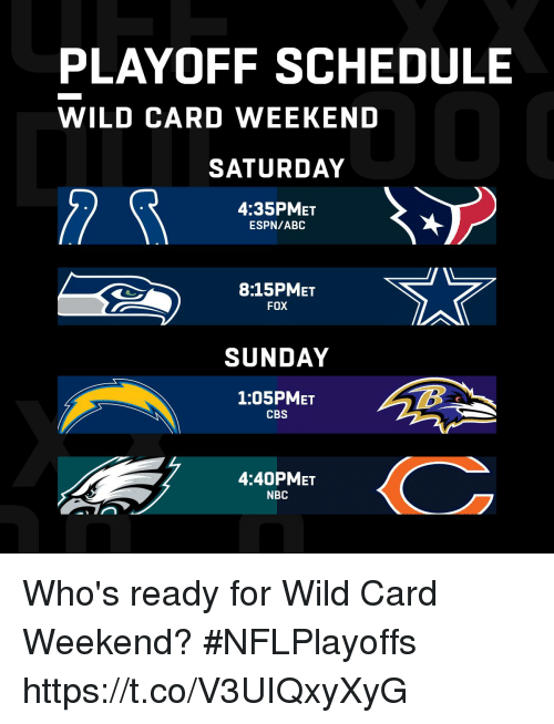 Abc, Espn, and Memes: PLAYOFF SCHEDULE  WILD CARD WEEKEND  SATURDAY  4:35PMET  ESPN/ABC  8:15PMET  FOX  SUNDAY  1:05PMET  CBS  4:40PMET  NBC Who's ready for Wild Card Weekend? #NFLPlayoffs https://t.co/V3UIQxyXyG
