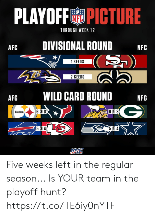 A 3: PLAYOFFPICTURE  THROUGH WEEK 12  DIVISIONAL ROUND  AFC  NFC  (S)  1 SEEDS  2 SEEDS  WILD CARD ROUND  AFC  NFC  G  6a 3  6 a 3  Steelers  5a 4 Five weeks left in the regular season...  Is YOUR team in the playoff hunt? https://t.co/TE6iy0nYTF