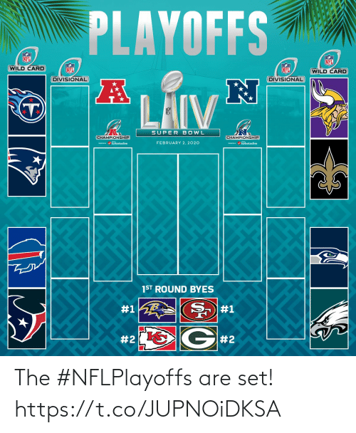 Memes, Nfl, and Super Bowl: PLAYOFFS  NFL  NFL  WILD CARD  NFL  NFL  (WILD CARD  DIVISIONAL  DIVISIONAL  LAIV  SUPER BOWL  CHAMPIONSHIP  CHAMPIONSHIP  / turbotaxlive  FEBRUARY 2, 2020  m / turbotaxlive  1ST ROUND BYES  #1  #1  G#2  The #NFLPlayoffs are set! https://t.co/JUPNOiDKSA